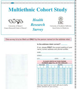 MEC Follow-up Questionnaire, Hawaii and California (English), 2003-2007